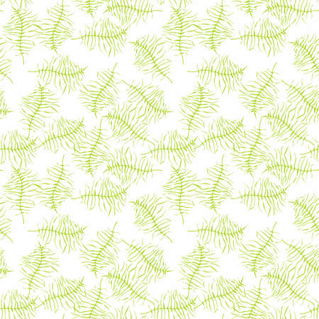 Illustrated seamless pattern with green branches on a white background