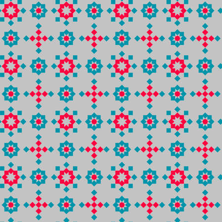 Abstract seamless geometric pattern, blue and pink