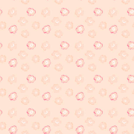 Illustrated abstract seamless floral background with pink flowers, imitation of hand drawing Stock Photo