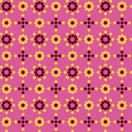 Abstract seamless geometric pattern, pink and yellow