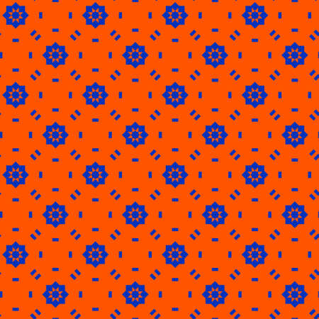 Abstract seamless geometric pattern, blue and orange