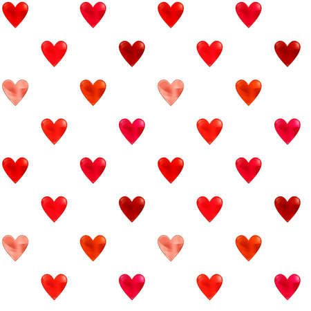 Illustrated seamless pattern with red, pink and orange hearts on a white background