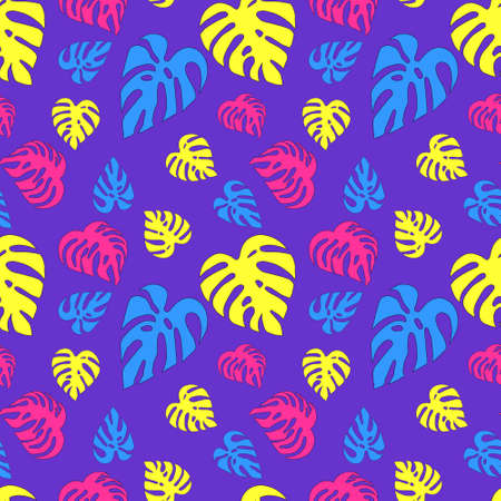 Neon pattern with different monstera leaves on a purple background