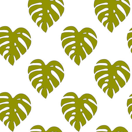 Illustrated seamless background with green monstera leaves on a white background Stock Photo