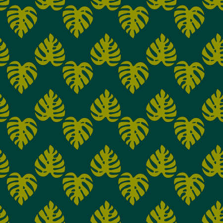 Illustrated green seamless background with monstera leaves