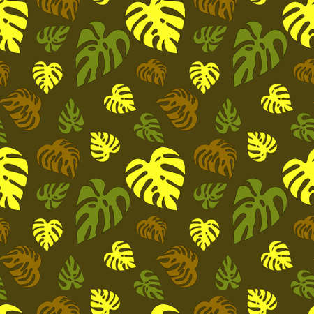 Illustrated seamless abstract pattern with green, yellow and brown monstera leaves  Stock Photo