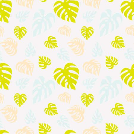 Illustrated seamless light background with monstera leaves Stock Photo