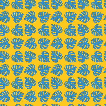 Illustrated seamless floral yellow background with blue monstera leaves