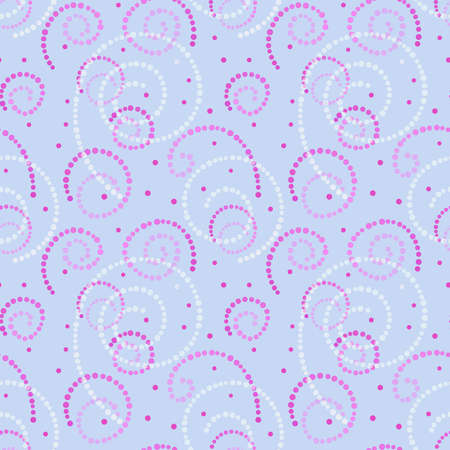 Illustrated abstract seamless background with pink and white spirals