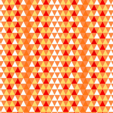 Seamless geometric pattern with red, orange and white triangles Stock Photo