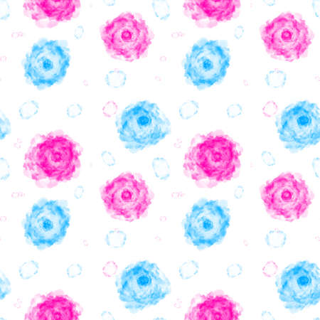 Illustrated abstract seamless background with blue and pink  flowers, imitation of hand drawing