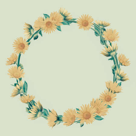 Decorative background with flower frame in vintage style