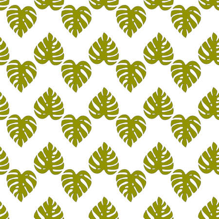 Illustrated seamless background with green monstera leaves