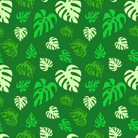 Illustrated seamless abstract pattern with green monstera leaves