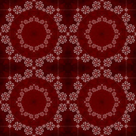 Illustrated seamless dark pattern on a red background with crystals