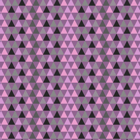 Illustrated seamless geometric pattern with purple and green triangles