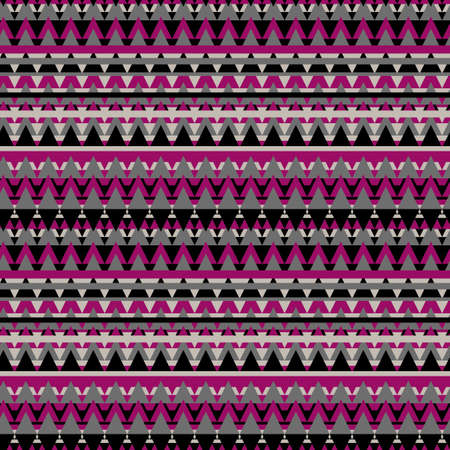 Illustrated gray and pink geometric seamless background in ethnic style