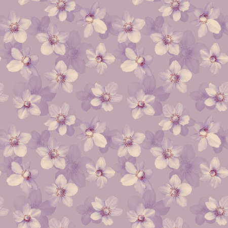 Seamless abstract purple background with anemones