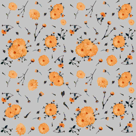 Abstract seamless floral background with chrysanthemums, repeat pattern