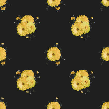 Abstract floral seamless dark background with yellow chrysanthemums