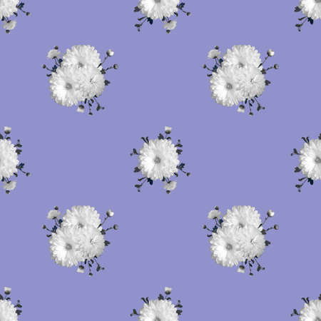 Abstract floral seamless background with white chrysanthemums, repeat pattern
