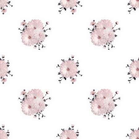 Seamless floral pale background with pink chrysanthemums