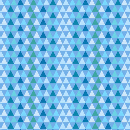 Illustrated seamless geometric pattern with blue and green triangles
