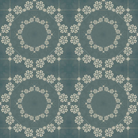 Illustrated seamless retro pattern on a blue background with crystals