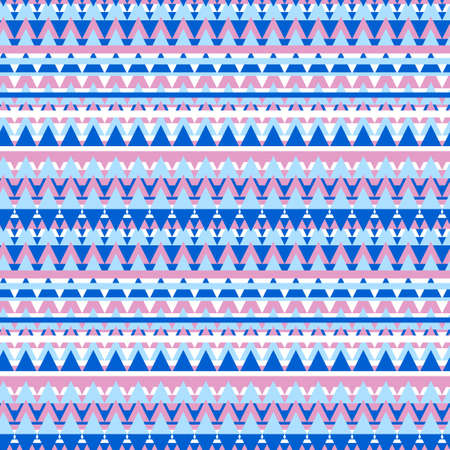 Illustrated blue and pink geometric seamless background in ethnic style Stock Photo