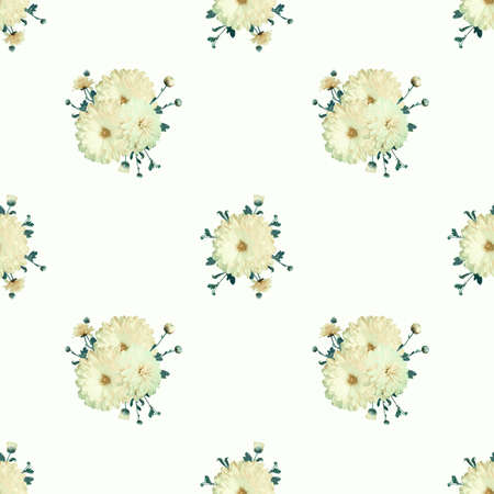 Seamless floral pale background with chrysanthemums in vintage style Stock Photo