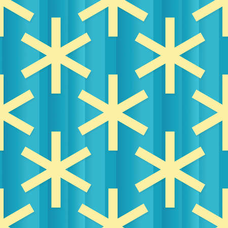 Seamless abstract blue background with yellow snowflakes