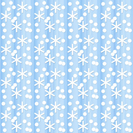 Seamless abstract blue background with white snowflakes and dots