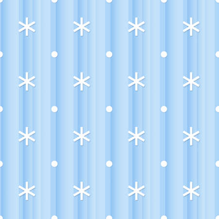 Seamless abstract blue background with white snowflakes and small dots