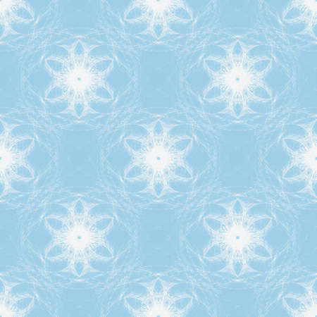 Illustrated abstract seamless pattern, white snowflakes on a blue background Stock Photo