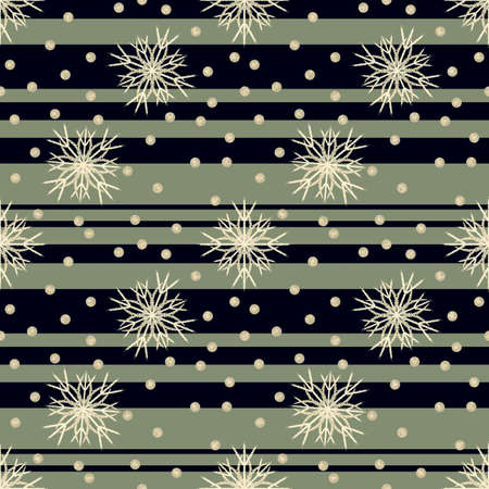 Seamless Christmas pattern with a green and black striped background and snowflakes