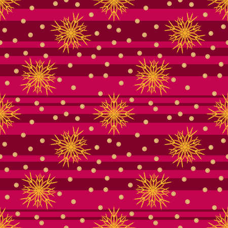 Seamless Christmas pattern with a pink and red striped background and yellow snowflakes Stock Photo