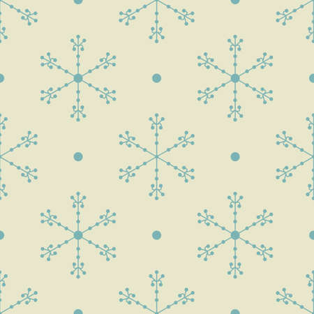 Seamless Christmas pattern in retro style with snowflakes Stock Photo