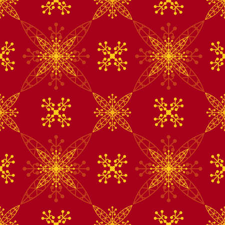 Illustrated red and yellow seamless pattern