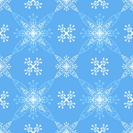 Illustrated blue seamless pattern
