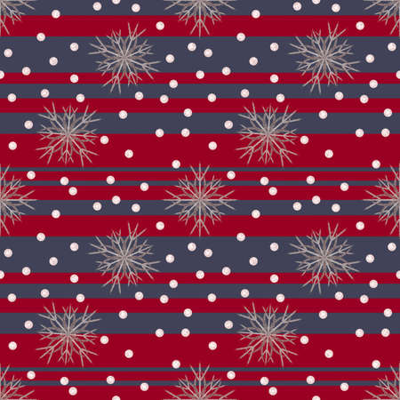 Illustrated seamless christmas background with stripes and snowflakes Stock Photo