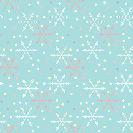 Illustrated seamless christmas background with snowflakes Stock Photo