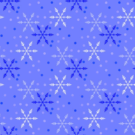 Illustrated seamless christmas background with snowflakes Фото со стока