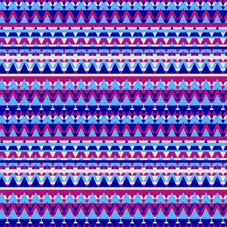 Illustrated blue geometric seamless background in ethnic style Фото со стока