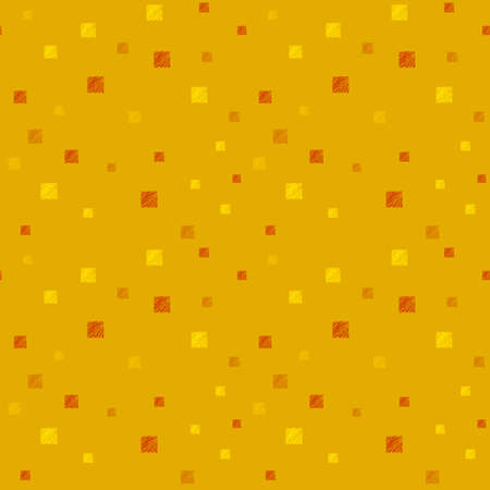 Abstract illustrated seamless pattern with grunge squares on orange background