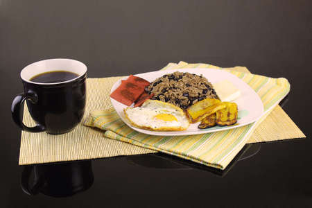 pinto beans: Gallo pinto Rice and Beans Traditional Food Typical of Costa Rica Stock Photo