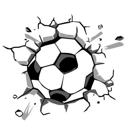 Ball breaking the wall perfecto to decorate any design or wall