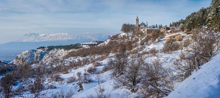Gioia Vecchio during winter, near Pescasseroli, in Abruzzo National Park. Italy. Stock Photo