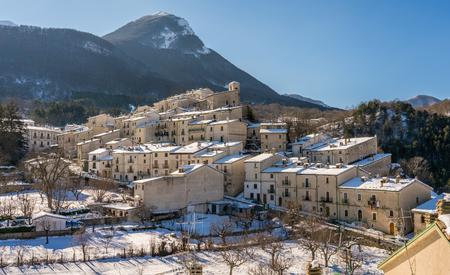 Civitella Alfedena on a sunny winter morning. Abruzzo, Italy.