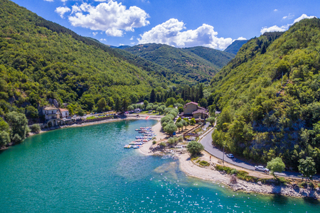 Scenic sight in Scanno lake, province of L'Aquila, Abruzzo, central Italy.