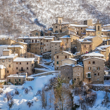 The beautiful Scanno covered in snow during winter season. Abruzzo, central Italy. Stock Photo